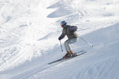 Skier with ski pole on snow Royalty Free Stock Photos