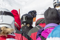 Skier standing in line Stock Images