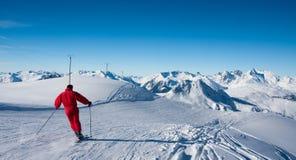 Skier on ski slope Stock Photos