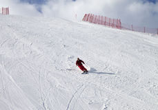 Skier on ski slope at sun day. Greater Caucasus, Mount Shahdagh. Qusar rayon of Azerbaijan Stock Photography