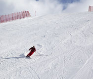 Skier on ski slope at sun day Royalty Free Stock Images