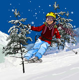 Skier skiing. Skier descends from the mountain on skis between trees Stock Photo