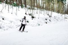 Skier is skiing down the slope in the woods. In winter Royalty Free Stock Image