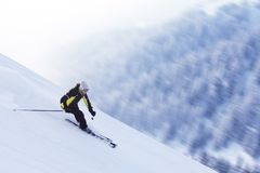 Skier in high mountains Stock Images
