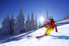 Free Skier Skiing Downhill In High Mountains Against Sunset Royalty Free Stock Images - 44143059
