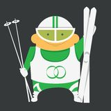 Skier with skiing equipment. Skier ready to go skiing with ski poles and other equipment in glasses Royalty Free Stock Image