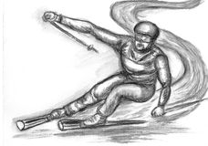 Skier skiing illustration Stock Photos