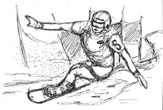 Skier skiing illustration Stock Images