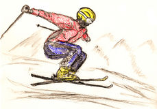 Skier skiing illustration Stock Image