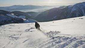 Skier Skiing Mountain Winter Snow Slowmotion. Slowmotion footage of a skier riding down the mountain stock footage