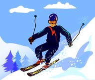 A skier is skiing. On a steep mountainside Stock Images