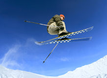 Skier in the sky Royalty Free Stock Photos