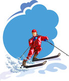Skier with Sky and snow - Illustration Royalty Free Stock Photography