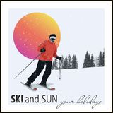 Skier slides from the mountain Royalty Free Stock Images