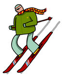 Skier slides by mountain slope. With green coat and lined scarf Stock Images