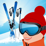 Skier on the slope. Illustration, AI file included Royalty Free Stock Photography