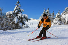 Skier on a slope. At a sharp turn Stock Images