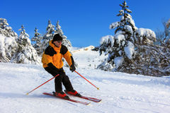 Skier on a slope. On the blue sky background Royalty Free Stock Image