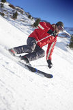 Skier on a slope. In switzerland stock photos