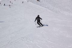 Skier on the slope Stock Images