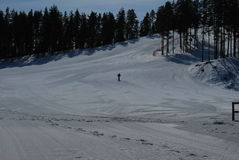 Skier on the slope. Skier on ice slope , winter Royalty Free Stock Photos