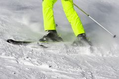 Skier on the slope. Detail of skier on the slope. Winter sport activity Stock Photo
