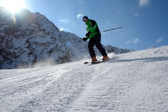 Skier on the slope Stock Image