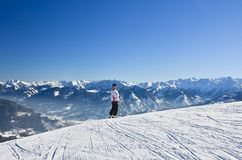 Skier on the slope ski resort  Austrian Stock Photo