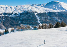 Skier on the slope of  Ski resort Livigno Royalty Free Stock Image
