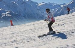 Skier on the slope ski resort Stock Photo