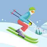 Skier on Slope Vector Illustration in Flat Design. Skier on slope vector illustration. Flat design. Man in ski suit sliding from hill with slalom flags. Winter Royalty Free Stock Image
