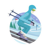 Skier on Slope Vector Illustration in Flat Design. Skier on slope vector illustration. Flat design. Man in ski suit sliding from hill with slalom flags. Winter Royalty Free Stock Images