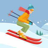 Skier on Slope Vector Illustration in Flat Design. Skier on slope vector illustration. Flat design. Man in ski suit sliding from hill. Winter entertainments Royalty Free Stock Image