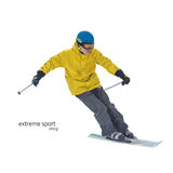 Skier on slope vector illustration Royalty Free Stock Image