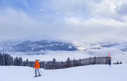 Skier on the slopes of the ski resort of Laax Royalty Free Stock Photography