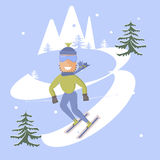Skier and snow. Comic concept flat design. People skiing. Skis isolated, skier and snow, season in mountain, cold downhill, recreation lifestyle, activity speed Stock Photography