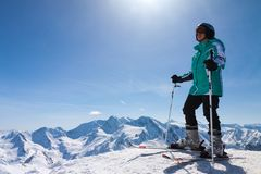 Skier on snow hill, Solden, Austria, extreme winter sport Stock Images
