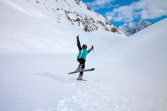 Skier on snow hill, Solden, Austria, extreme winter sport Royalty Free Stock Images