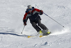Skier on the snow slope Stock Images