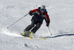 Skier on the snow slope Stock Image