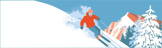 Skier on a snow slope Royalty Free Stock Photo