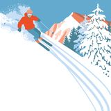 Skier on a snow slope Stock Image