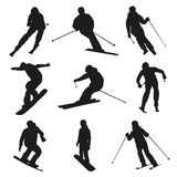 Skier and snowboarder. Set of vector silhouettes Royalty Free Stock Image