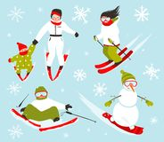 Skier Snowboarder Snowflakes Winter Sport Set Stock Photography