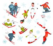 Skier Snowboarder Snowflakes Winter Sport Royalty Free Stock Image