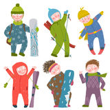 Skier Snowboarder Winter Clothes Sport Kids Royalty Free Stock Photo