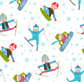 Skier Snowboarder Winter Sport Cartoon Seamless Royalty Free Stock Photography