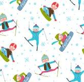 Skier Snowboarder Winter Sport Cartoon Seamless Royalty Free Stock Photography