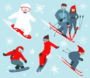 Skier and Snowboarder Winter Sport Illustration Stock Photography