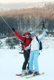 Skier and snowboarser Stock Images